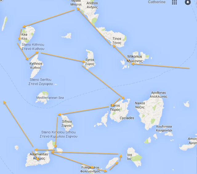 Sea Cloud's route through the Cyclades 2015